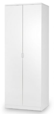 Manhattan White High Gloss 2 Door Wardrobe by Julian Bowen Sale Now on at Your Price Furniture